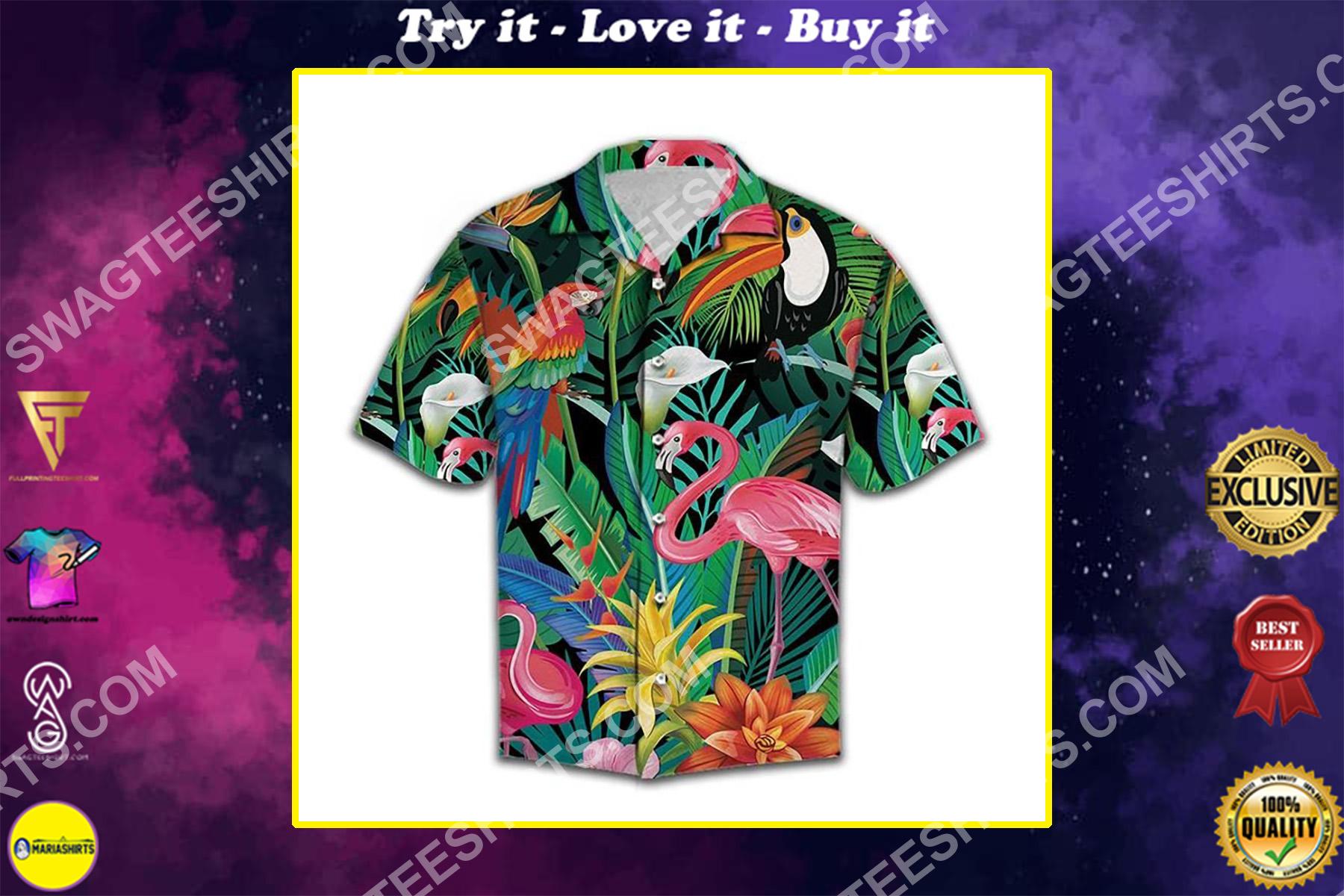 tropical birds all over printed hawaiian shirt