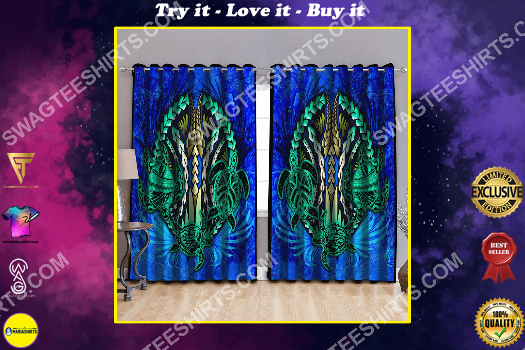 tropical blue turtles all over printed window curtains