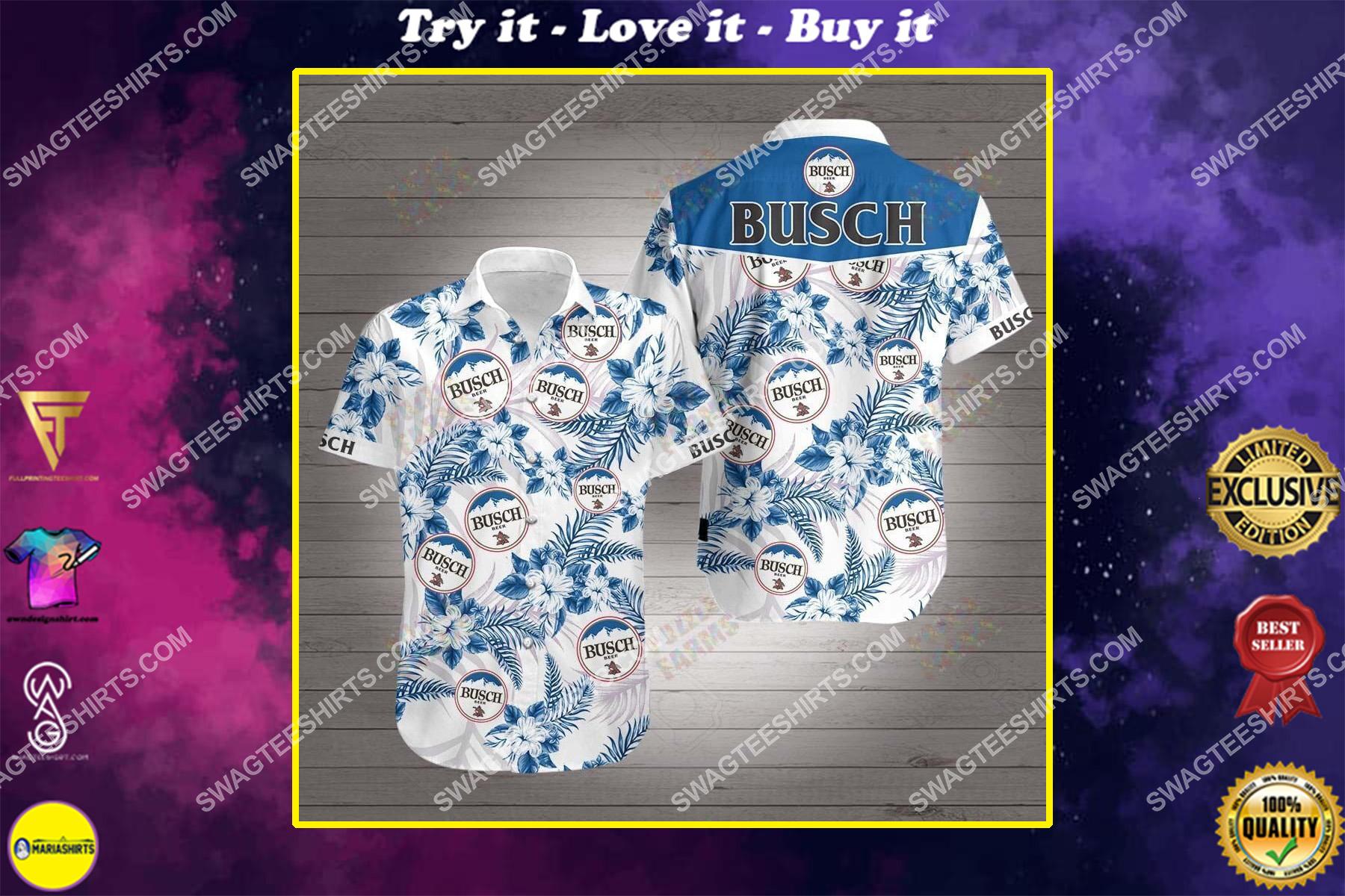 tropical busch beer all over print hawaiian shirt