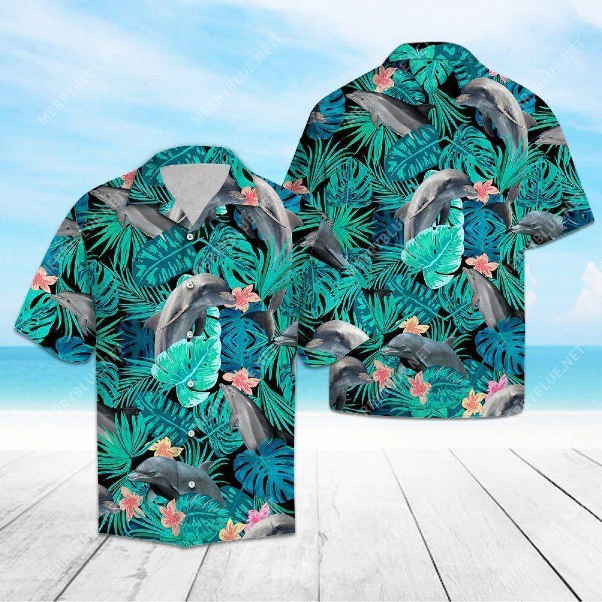 tropical dolphin all over printed hawaiian shirt 2