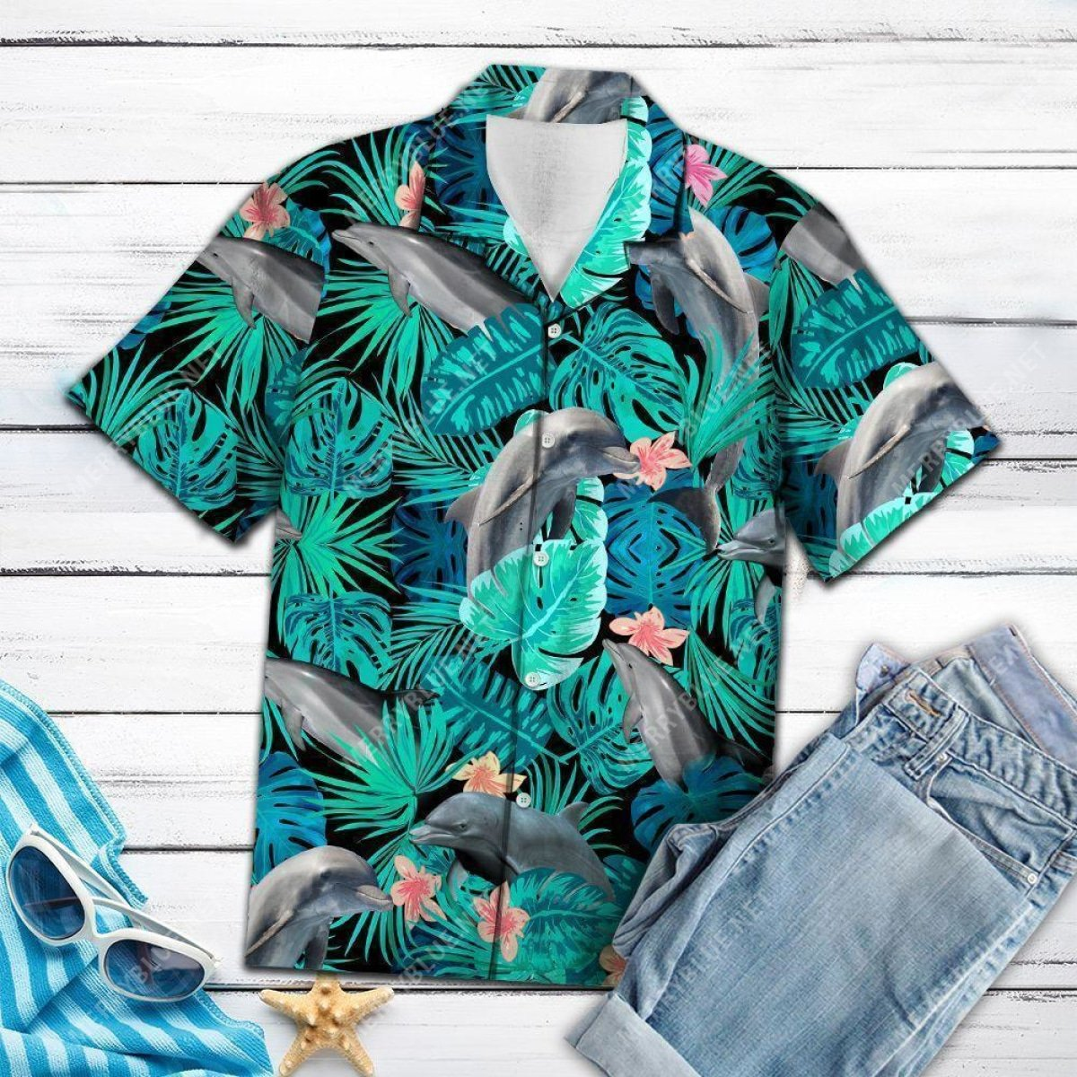 tropical dolphin all over printed hawaiian shirt 4
