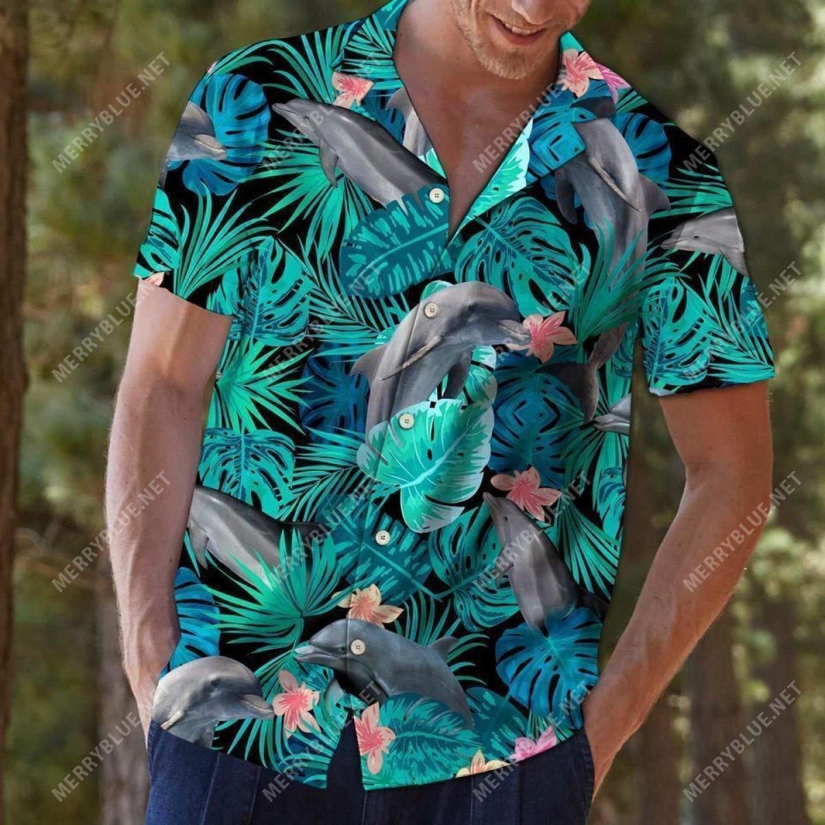 tropical dolphin all over printed hawaiian shirt 5