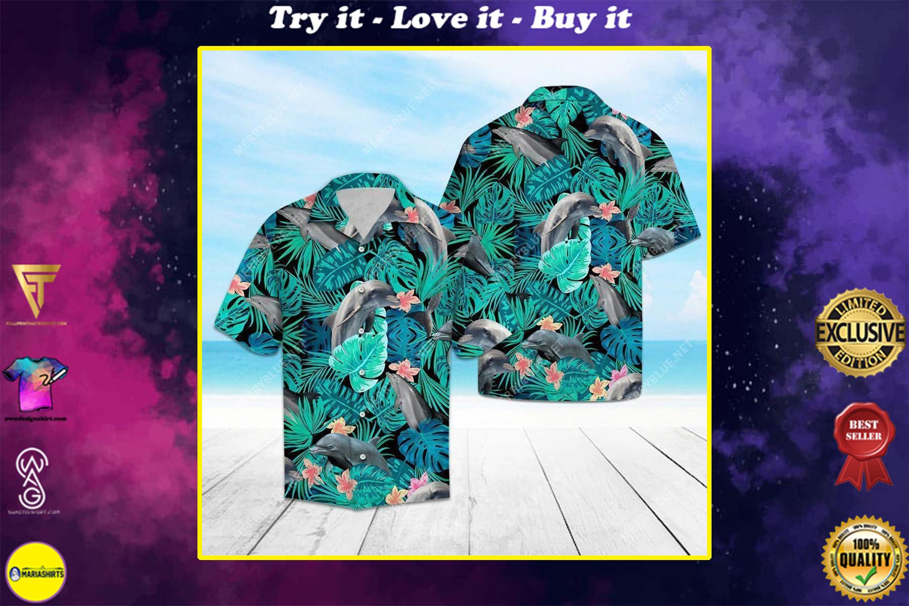 tropical dolphin all over printed hawaiian shirt