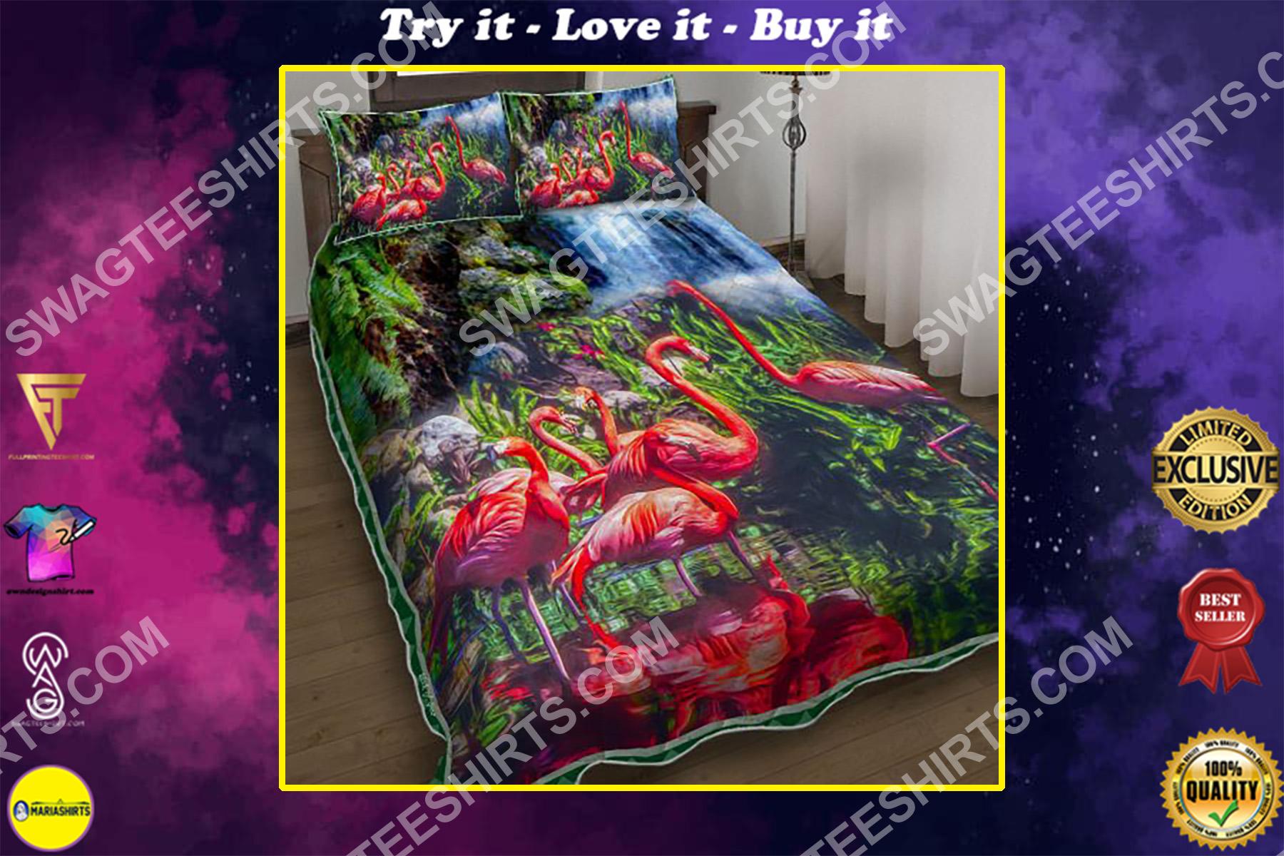 tropical flamingo all over printed bedding set