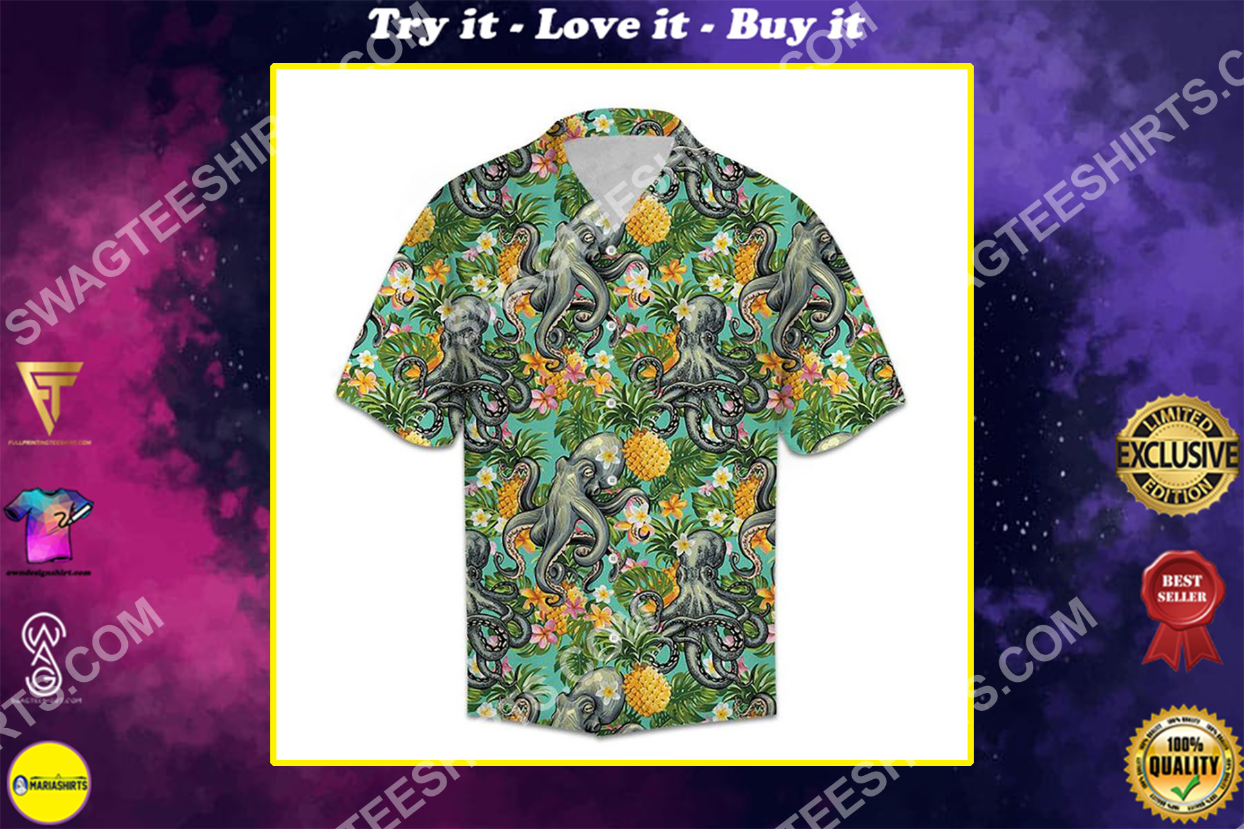tropical floral pineapple octopus all over printed hawaiian shirt