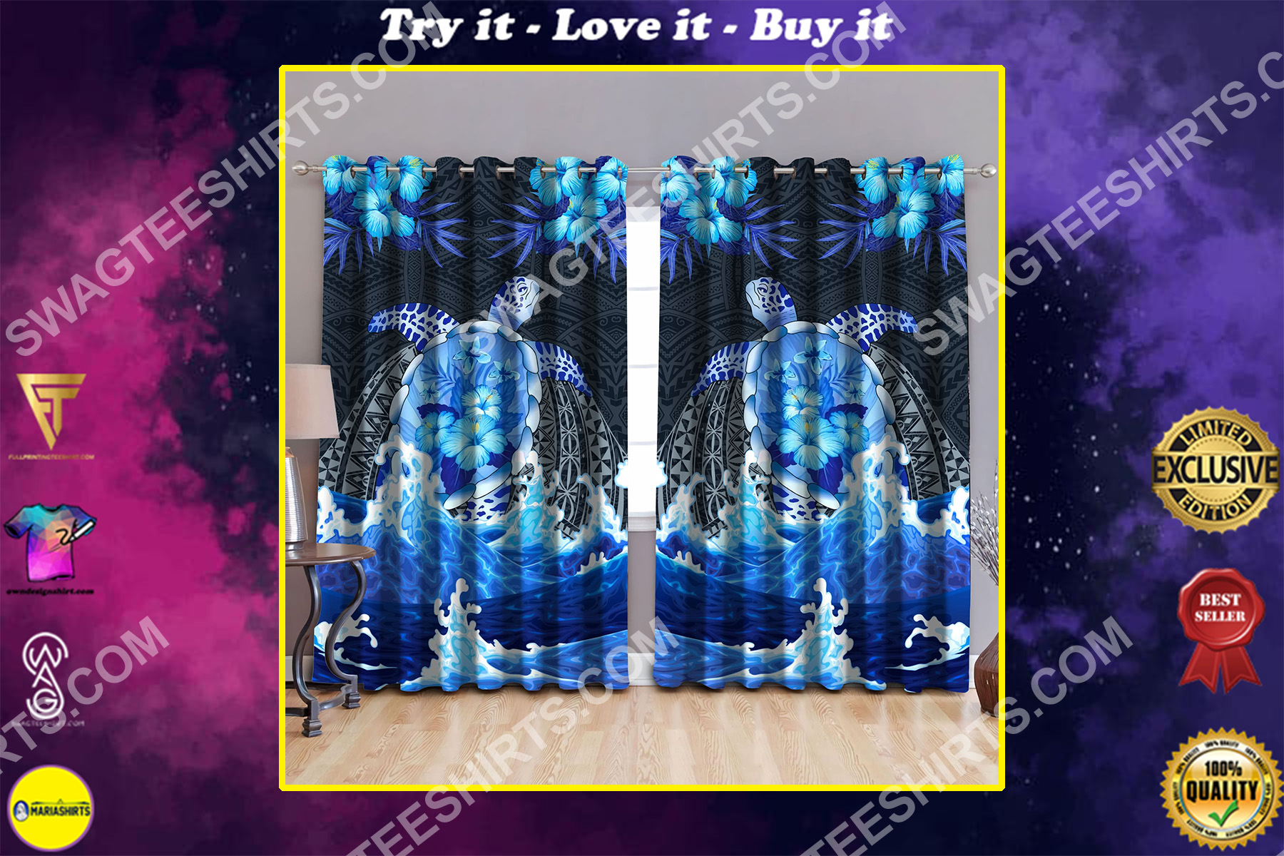tropical flower and sea turtle all over printed window curtains