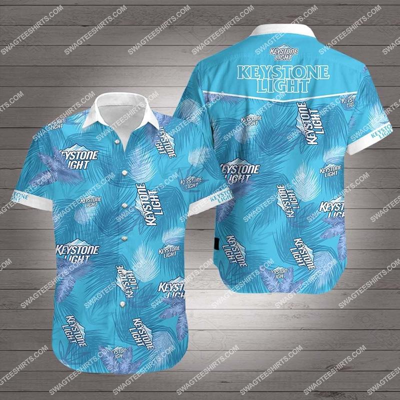 tropical keystone light beer all over print hawaiian shirt 2
