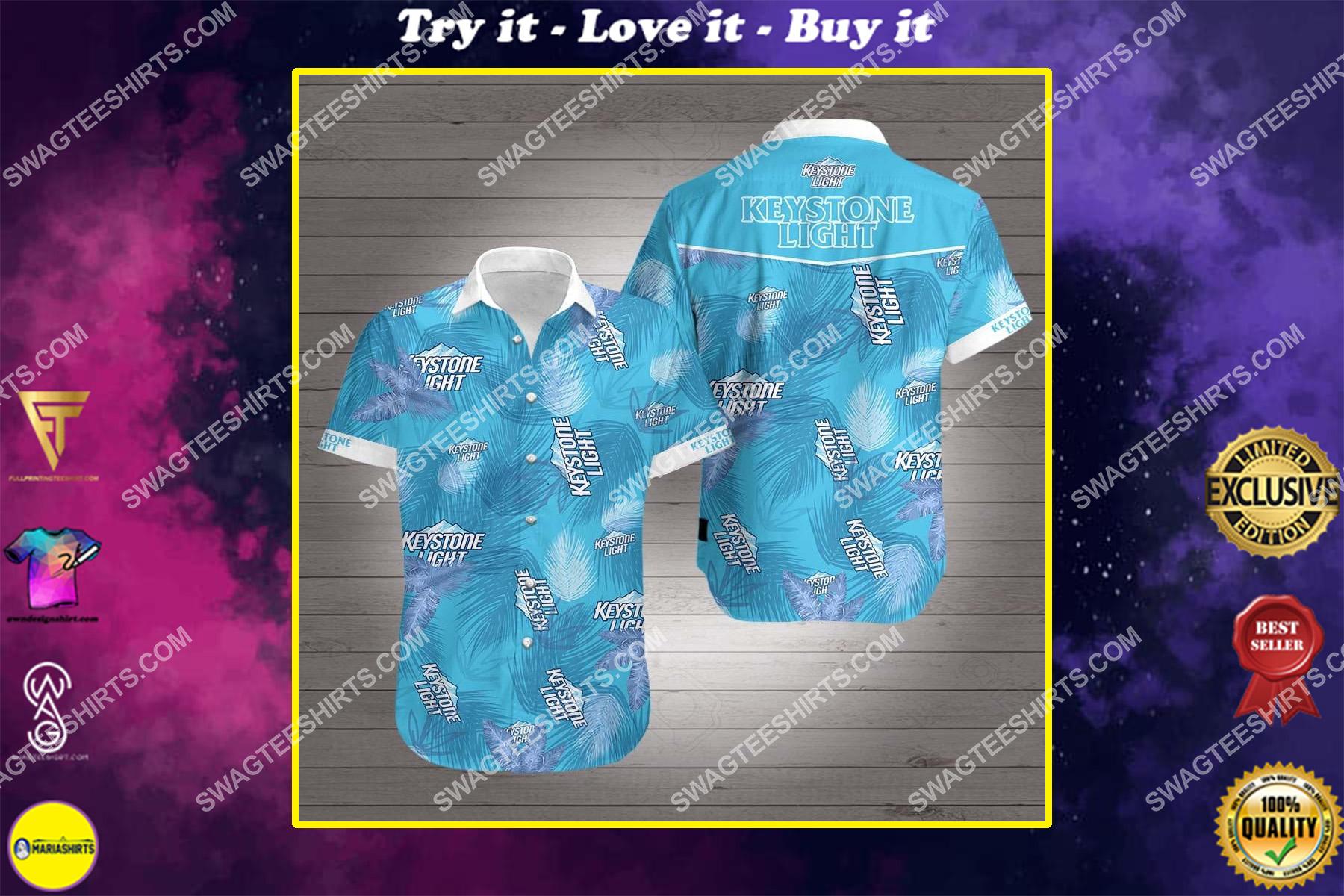 tropical keystone light beer all over print hawaiian shirt