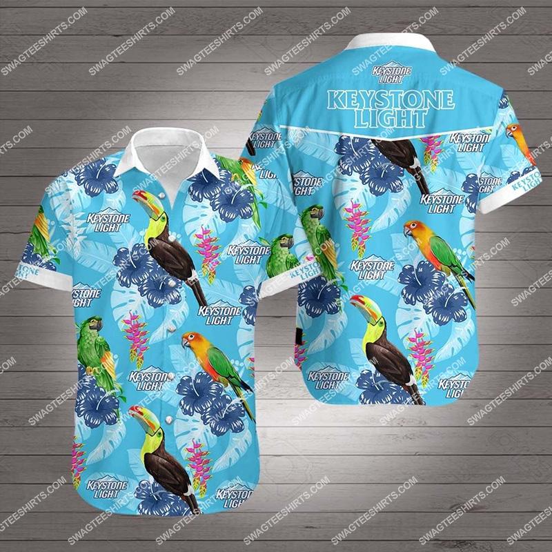 tropical parrot keystone light all over print hawaiian shirt 2