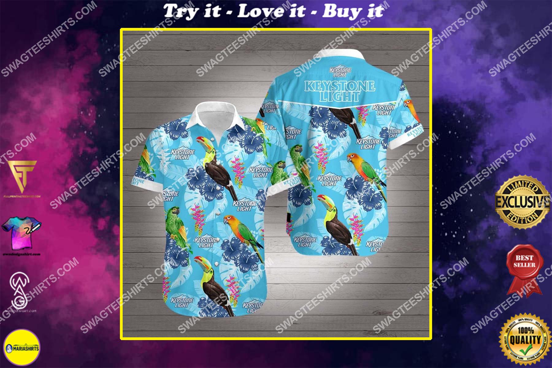 tropical parrot keystone light all over print hawaiian shirt