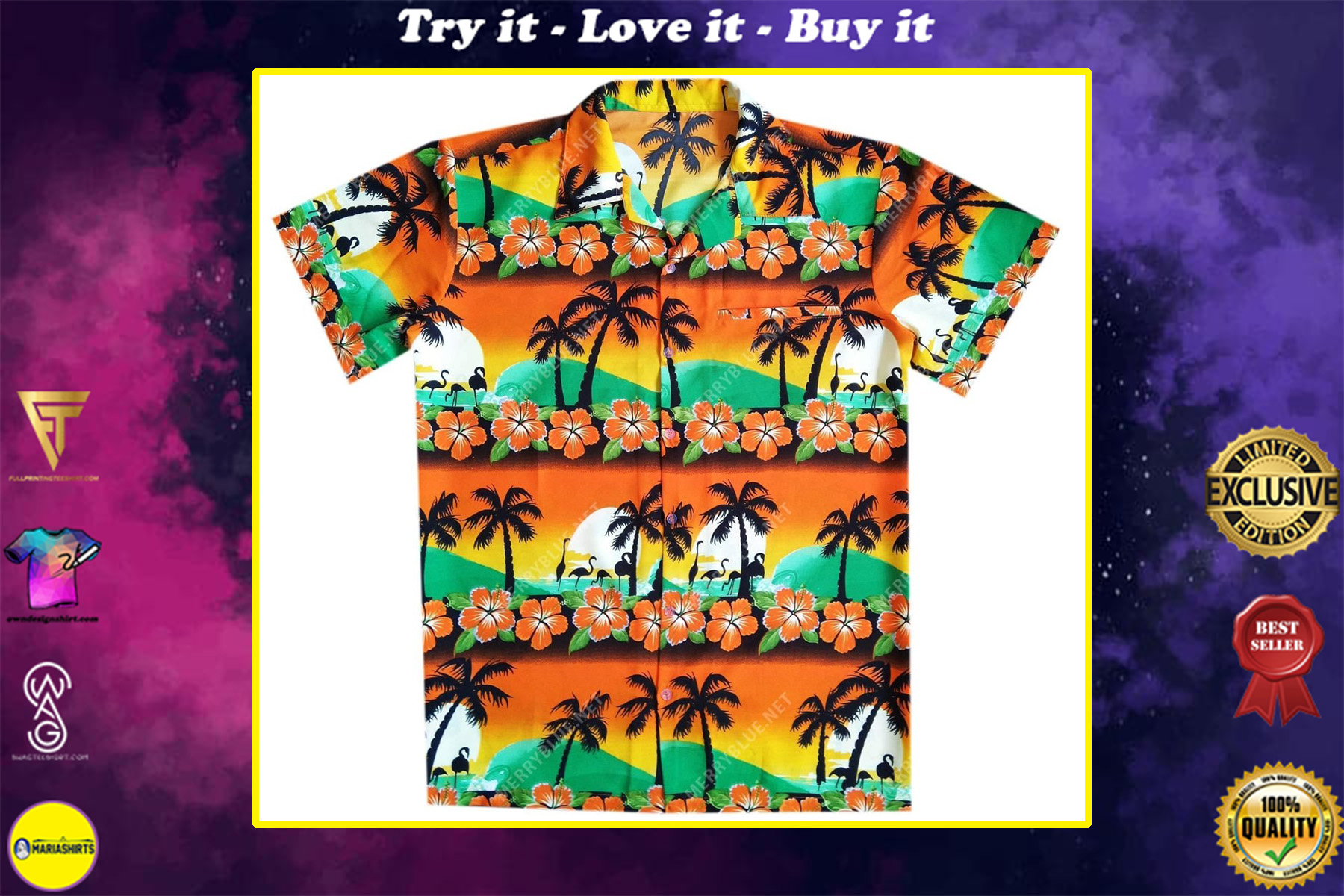 tropical summer beach all over printed hawaiian shirt