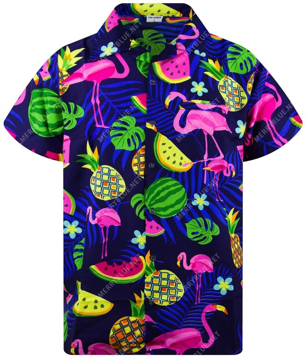 tropical summer flamingo all over printed hawaiian shirt 3