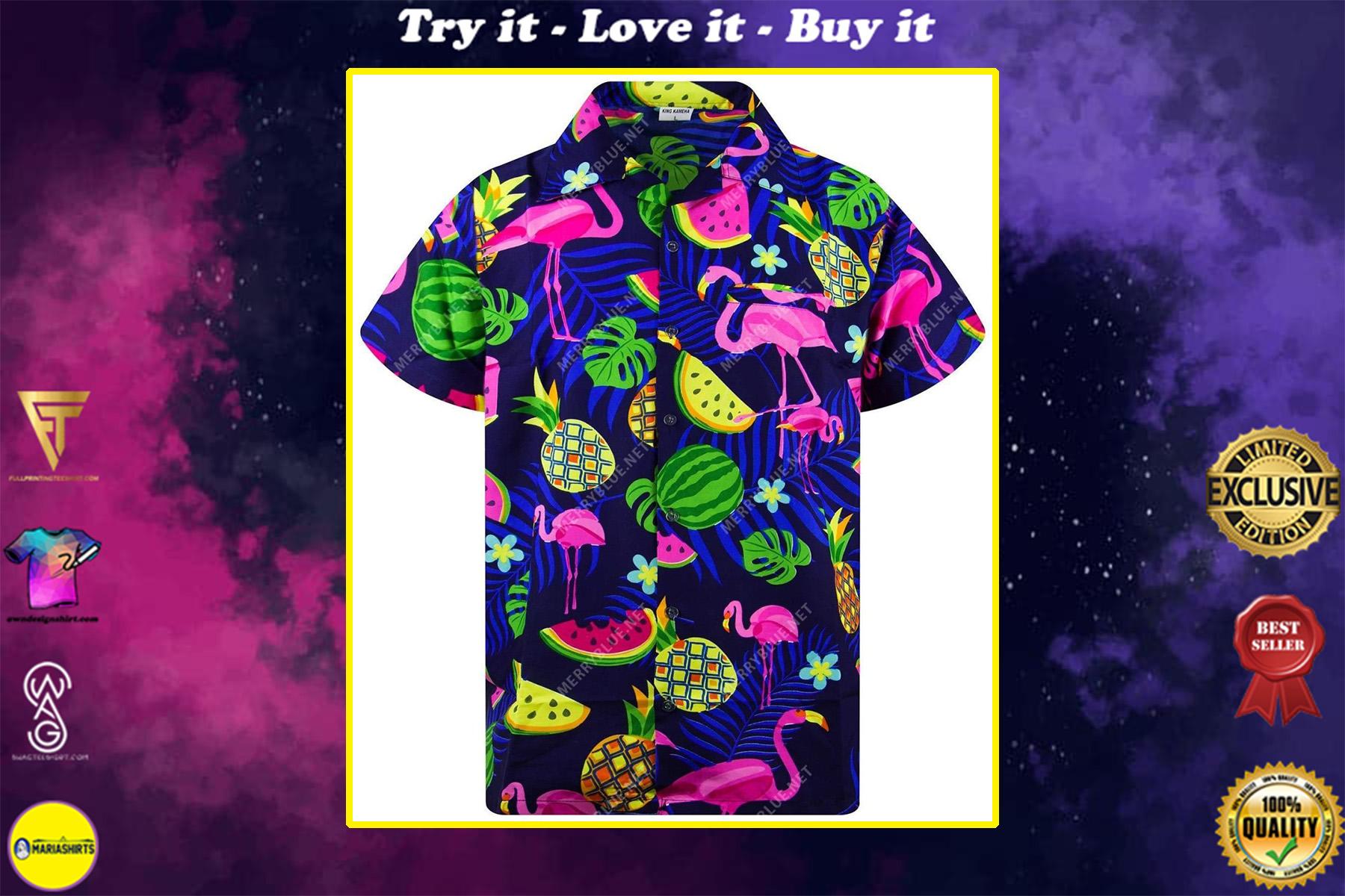tropical summer flamingo all over printed hawaiian shirt