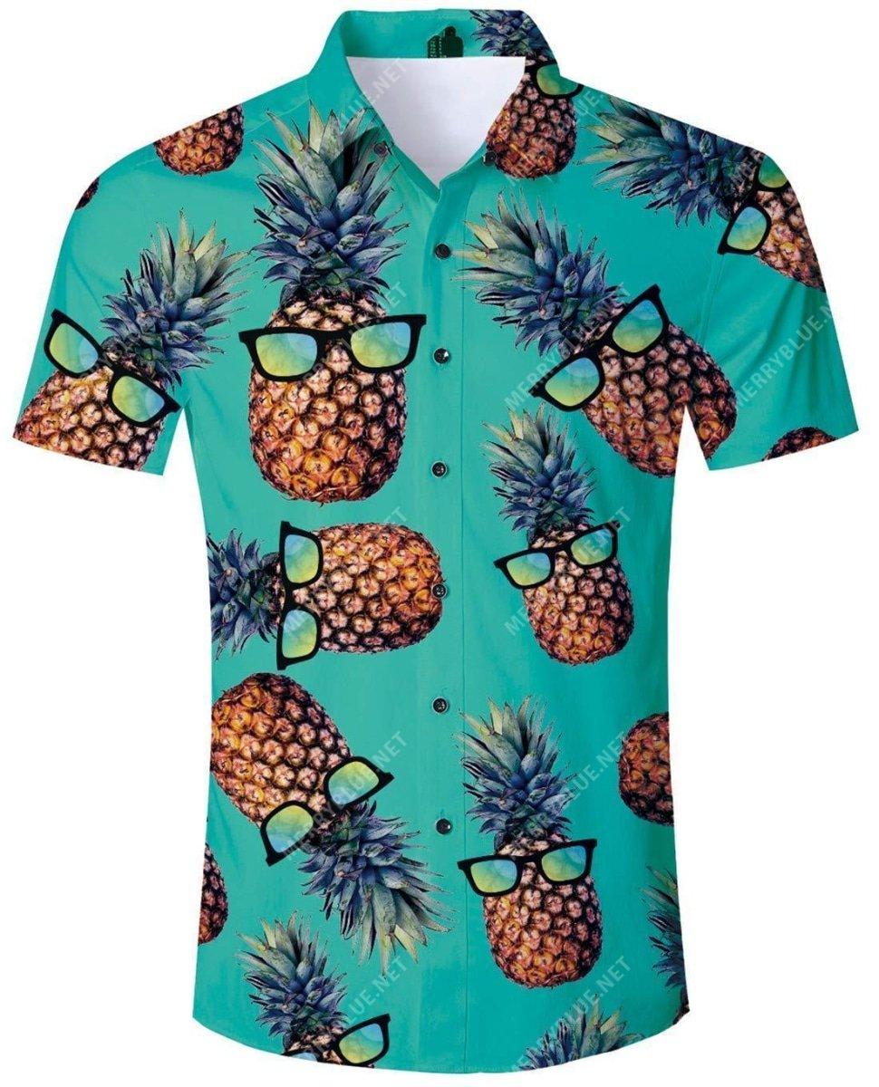 tropical summer pineapple all over printed hawaiian shirt 2
