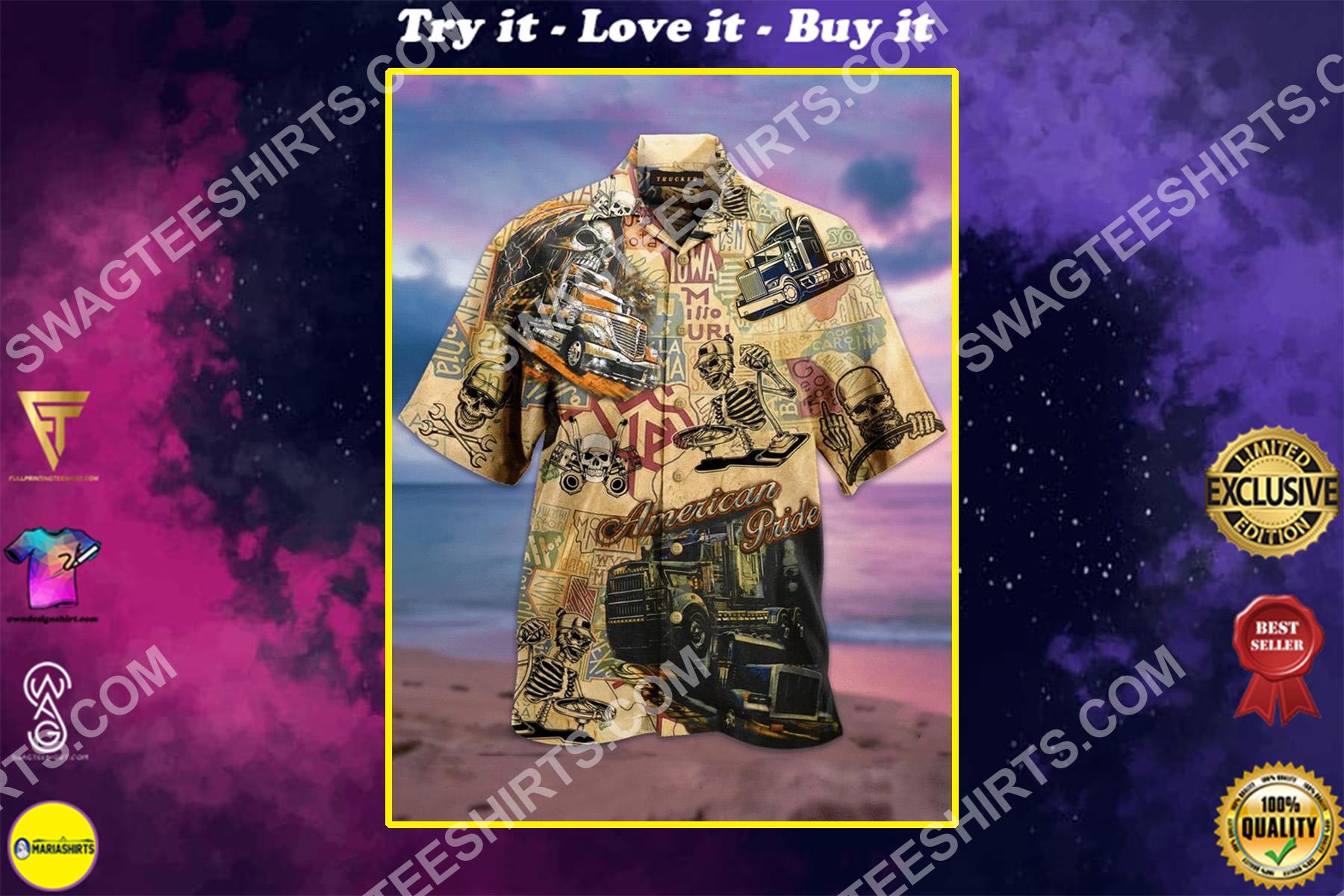 truck skull all over printed hawaiian shirt