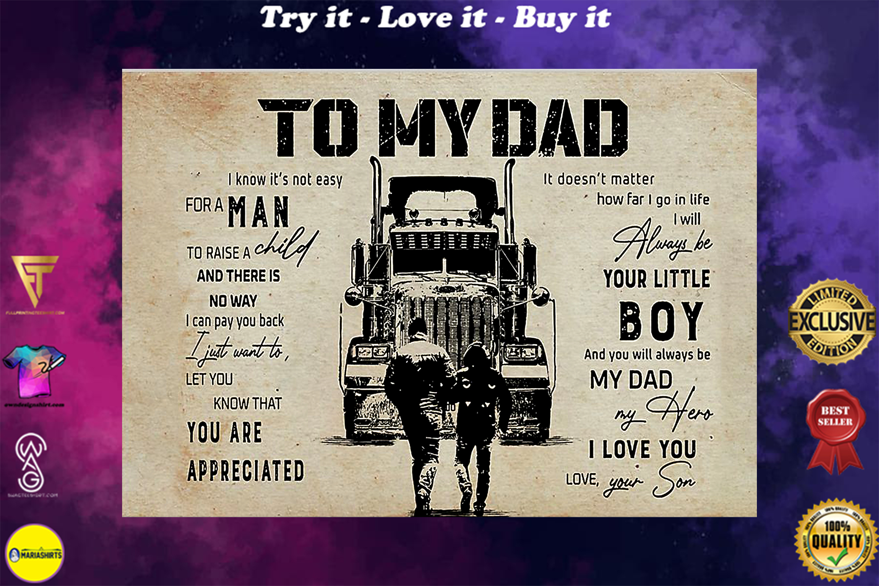 trucker to my dad you will always my dad my hero i love you poster