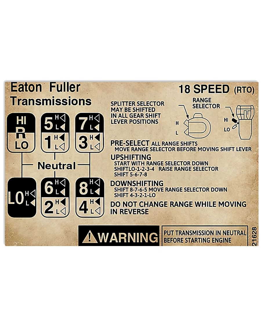 trucker warning information eaton fuller transmissions poster 1