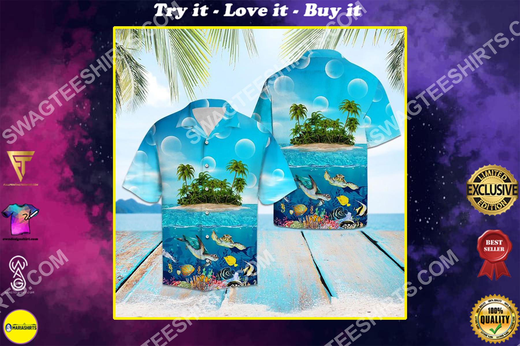 turtle island all over printed hawaiian shirt