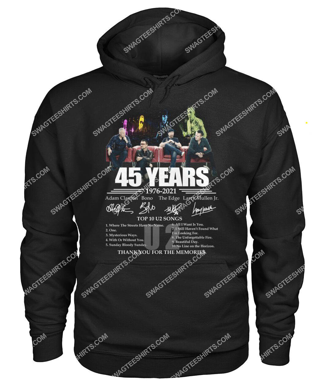 u2 band 45 years thank you for memories signatures hoodie 1