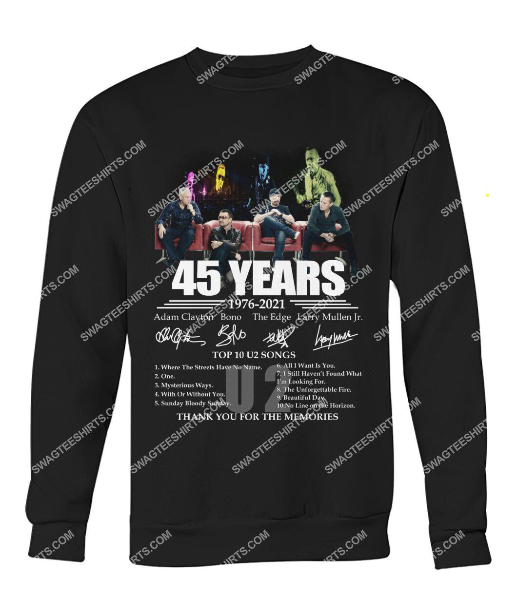 u2 band 45 years thank you for memories signatures sweatshirt 1