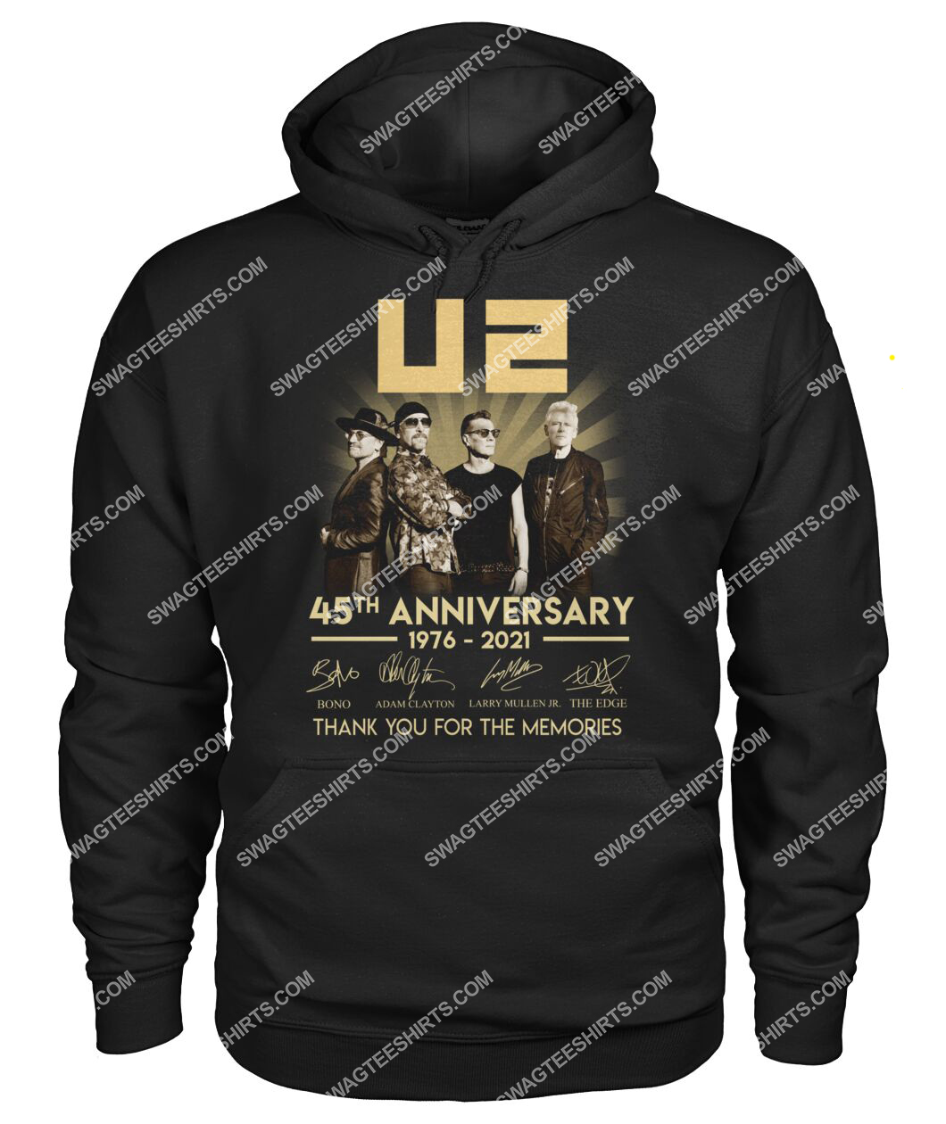 u2 music band 45th anniversary thank you for memories signatures hoodie 1