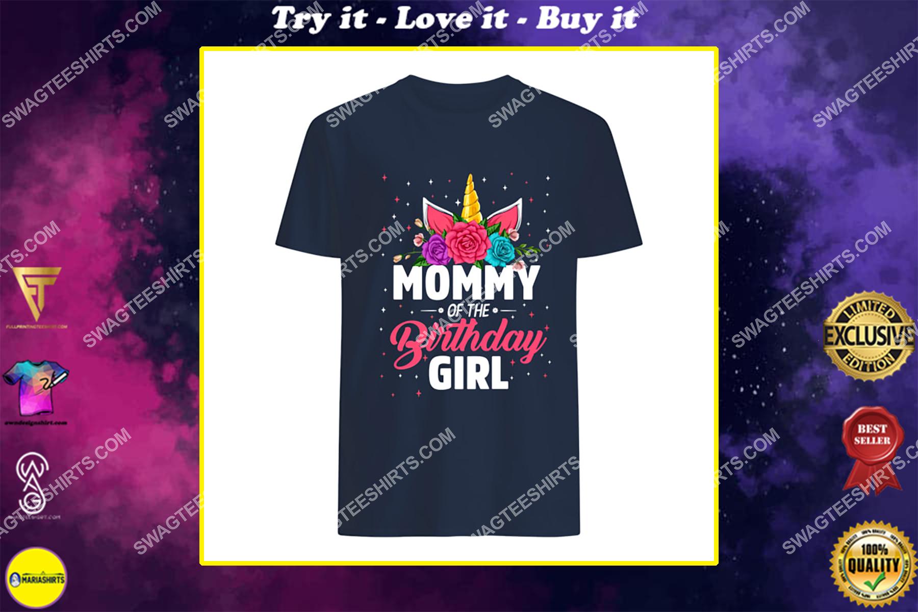 unicorns mommy of the birthday girl for birthday gift shirt