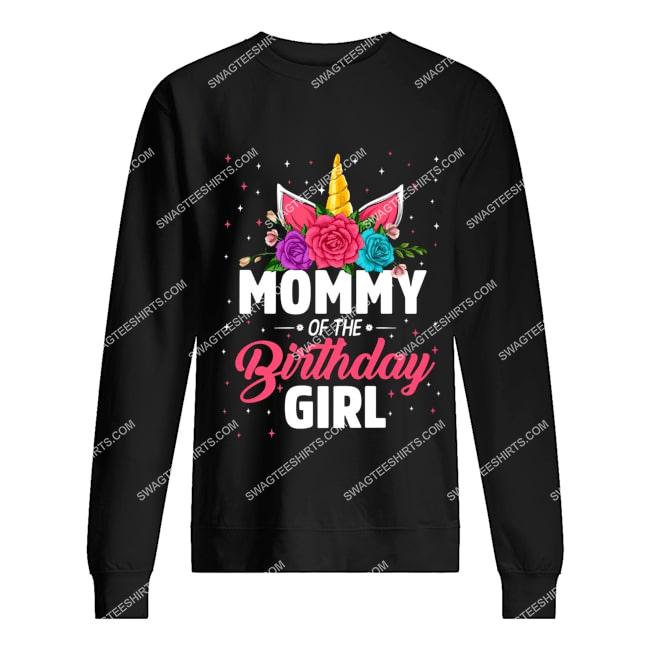 unicorns mommy of the birthday girl for birthday gift sweatshirt 1
