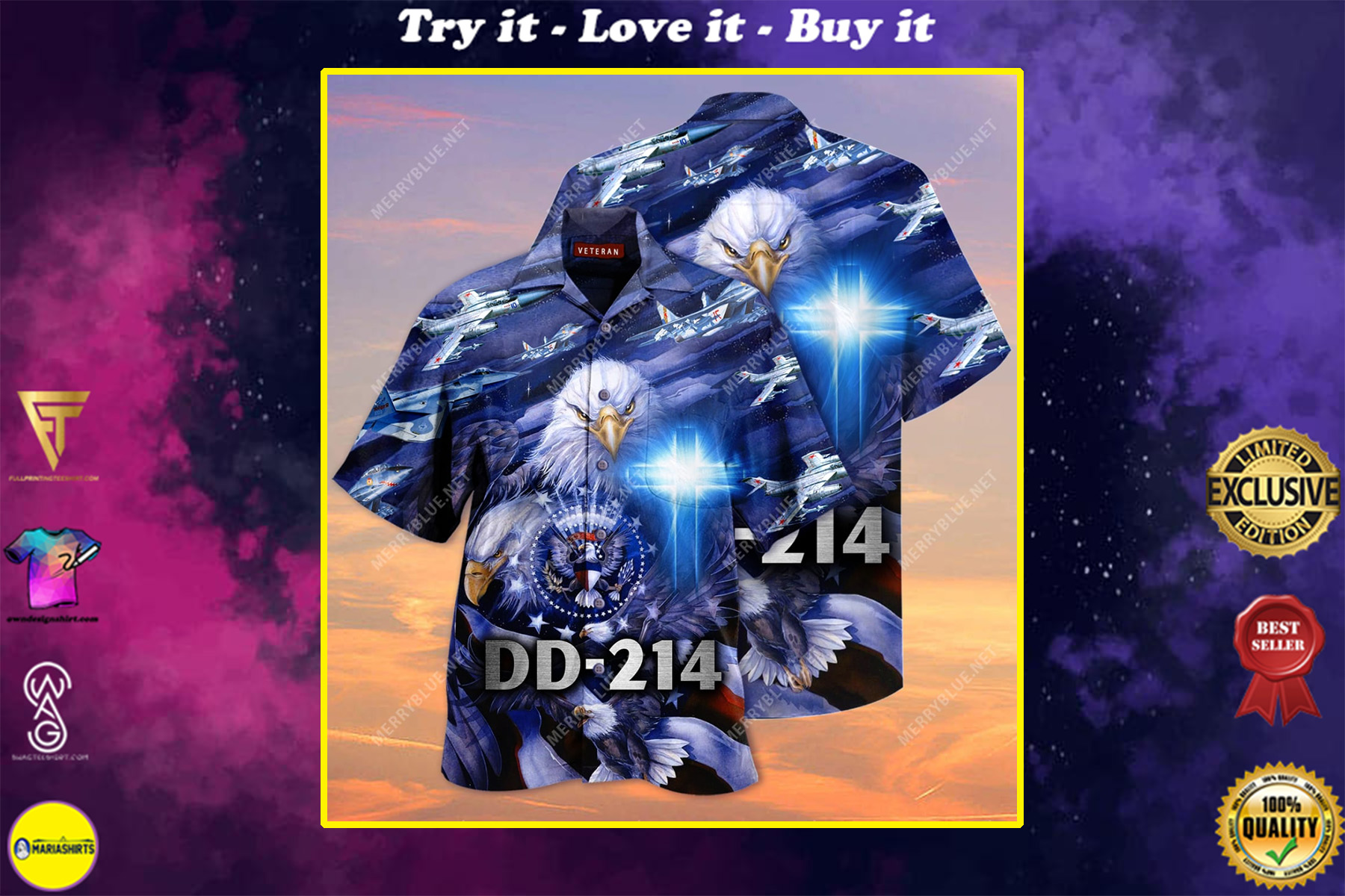 united state veteran on the sky all over printed hawaiian shirt