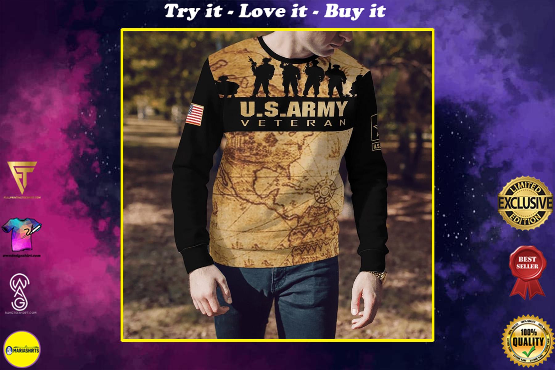 united states army veteran world map full printing shirt