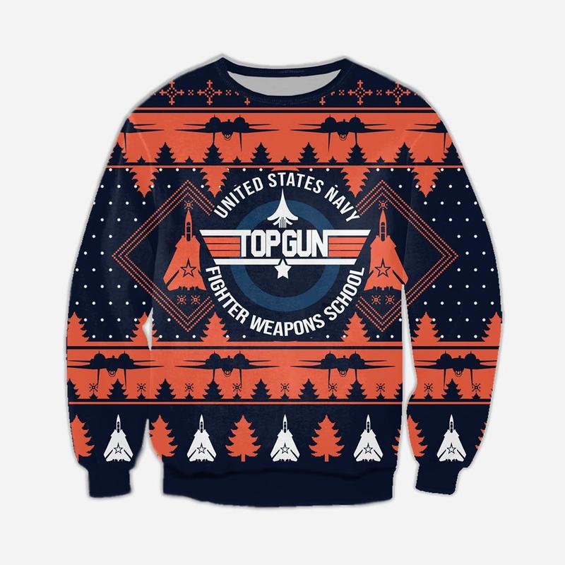 united states navy fighter weapons school top gun ugly christmas sweater 2