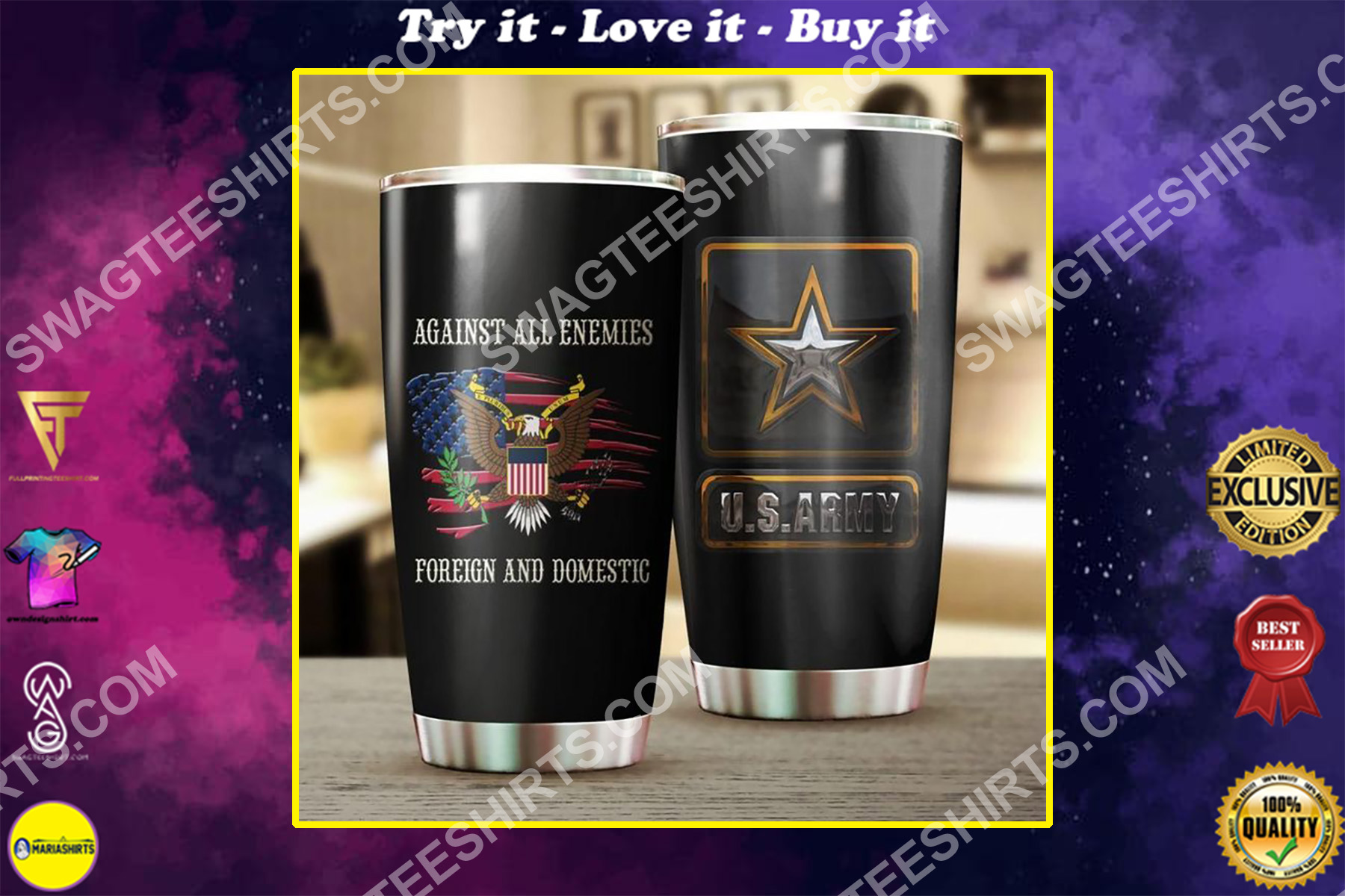 us army against all enemies foreign and domestic all over printed stainless steel tumbler