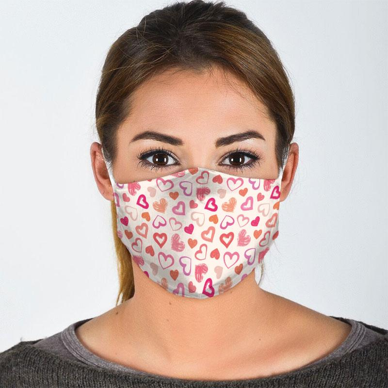 valentine heart seamless all over print face mask 2