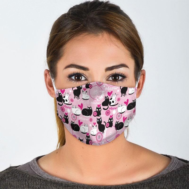 valentine lovely couple cat all over print face mask 3