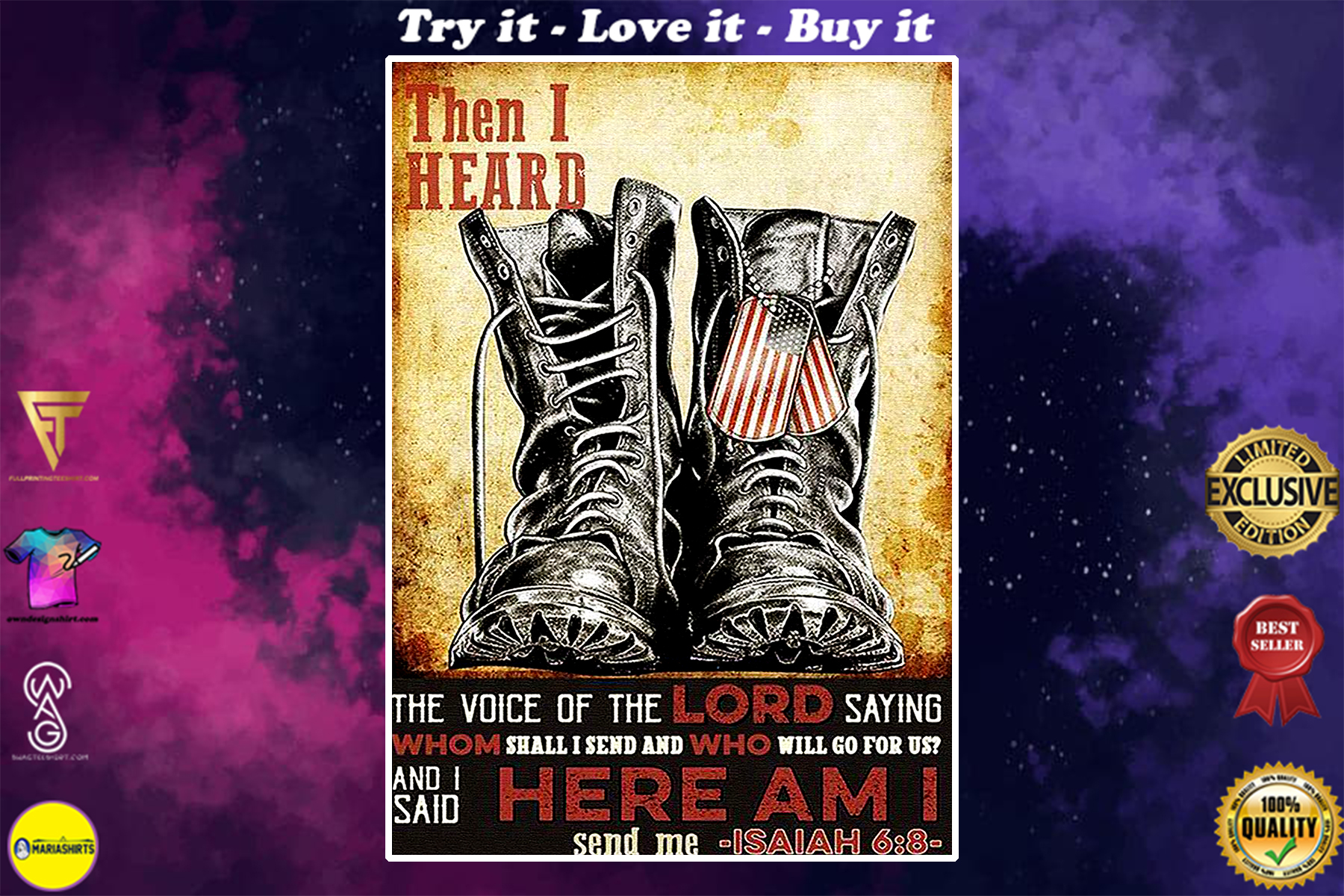 veteran boots then i heard the voice of the Lord poster