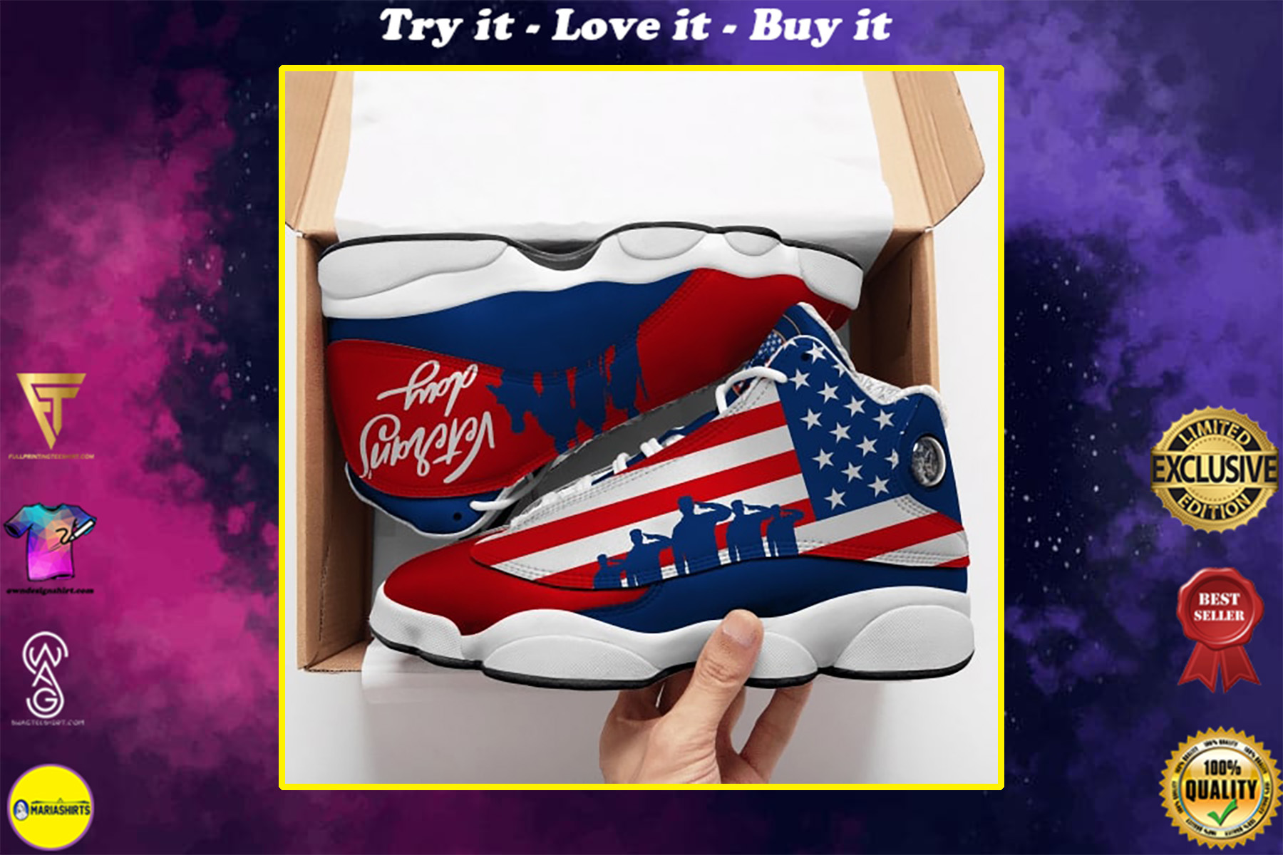 veterans day american flag all over printed air jordan 13 sneakers