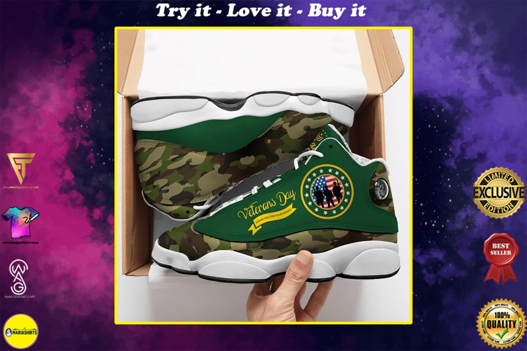veterans day thank you all over printed air jordan 13 sneakers