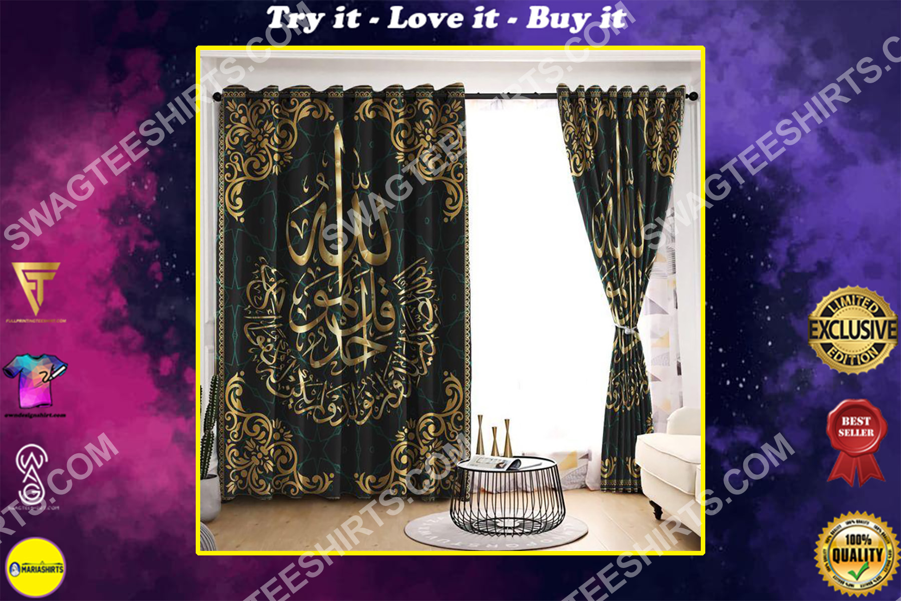 viking culture all over printed window curtains