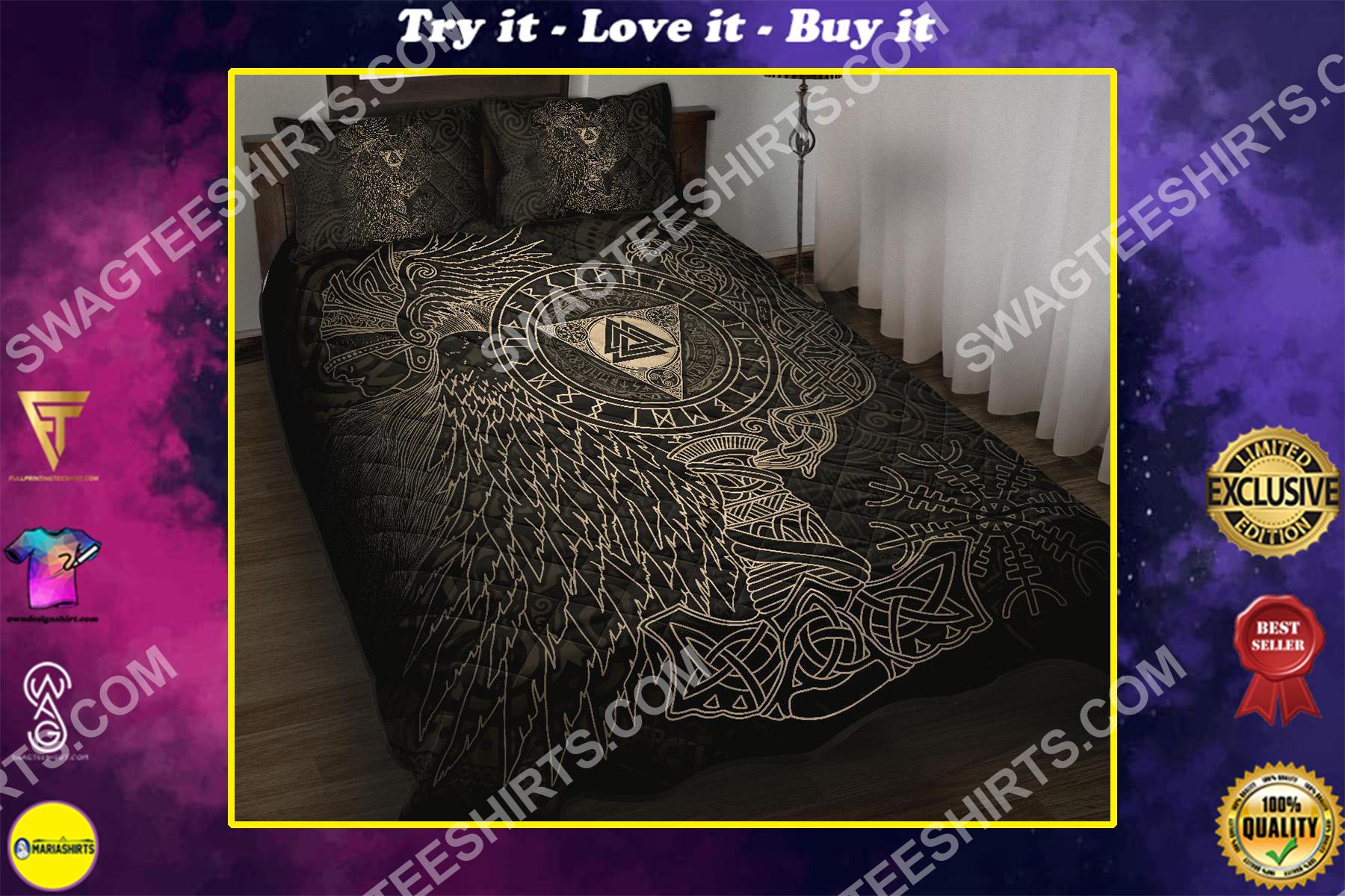 viking culture symbol all over printed bedding set