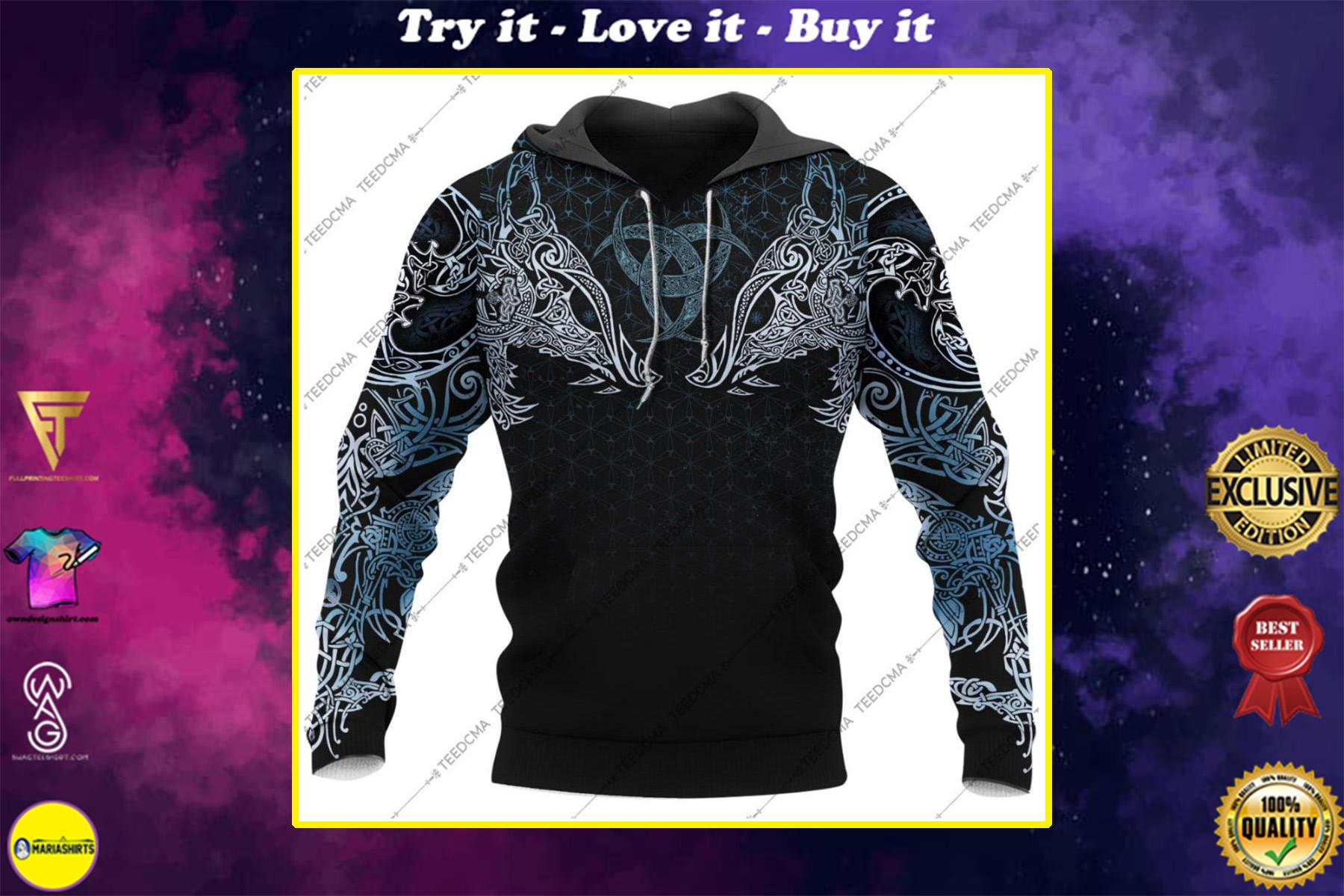 viking geri and freki all over printed shirt
