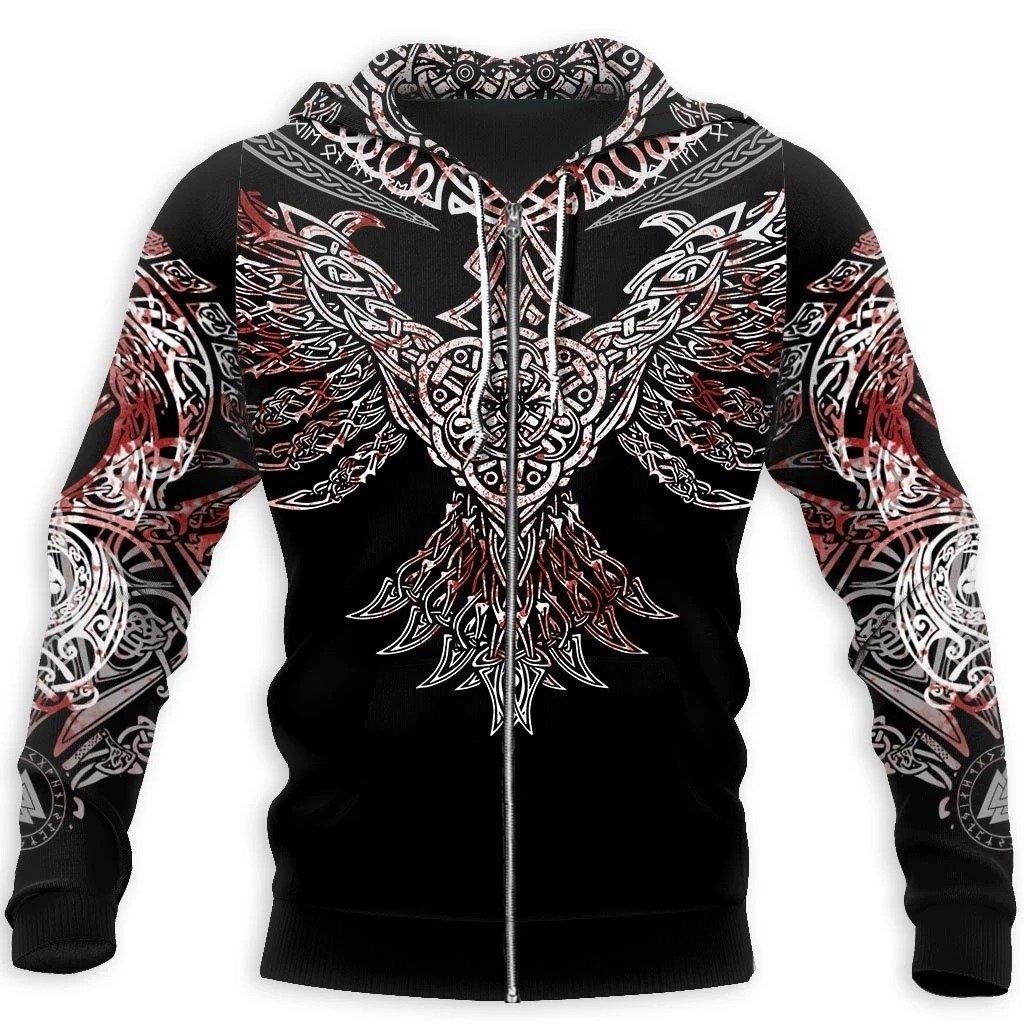 viking huginn all over printed zip hoodie