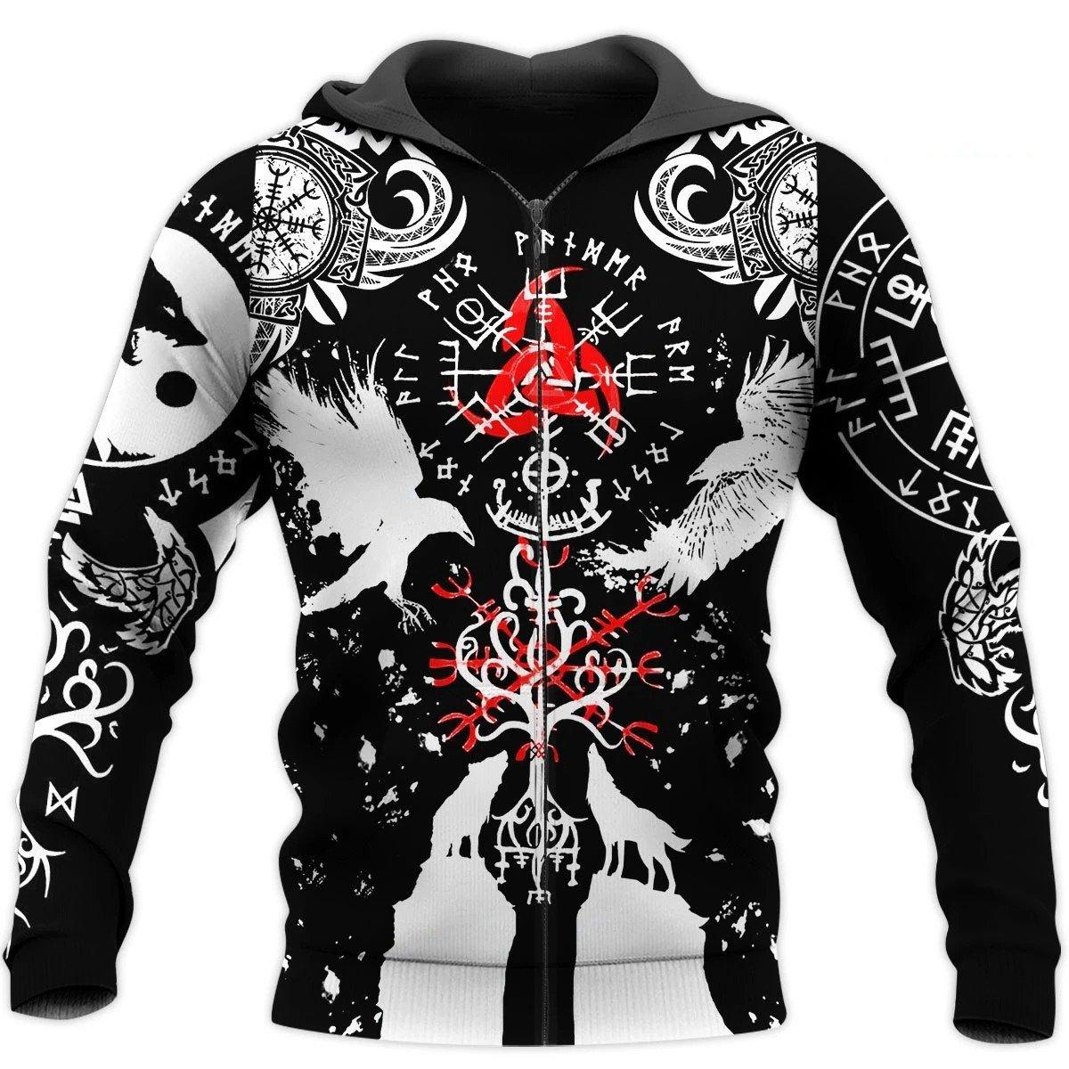 viking huginn and muninn all over printed zip hoodie