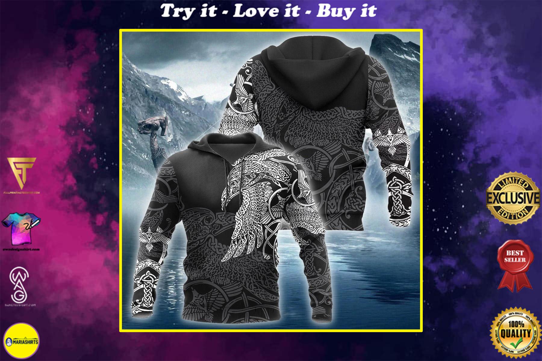 viking munin raven tattoo all over printed shirt