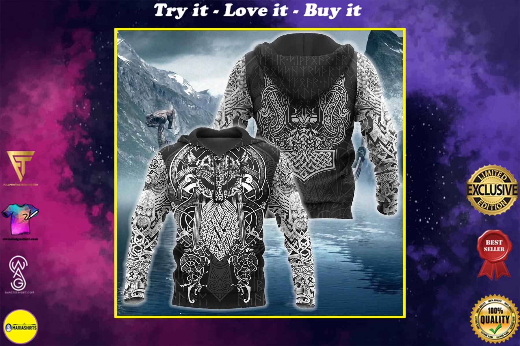 viking odin valhalla all over printed shirt