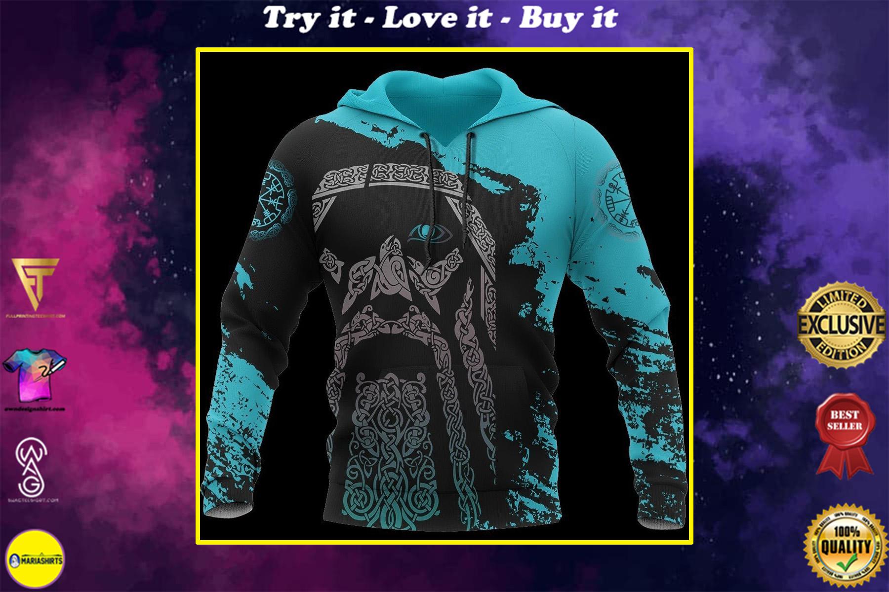 viking odin wotan all over printed shirt