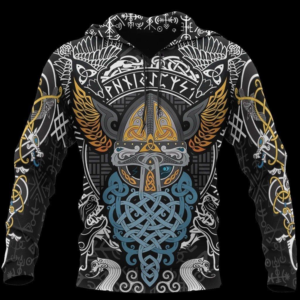 viking odin wotan tattoo all over printed hoodie