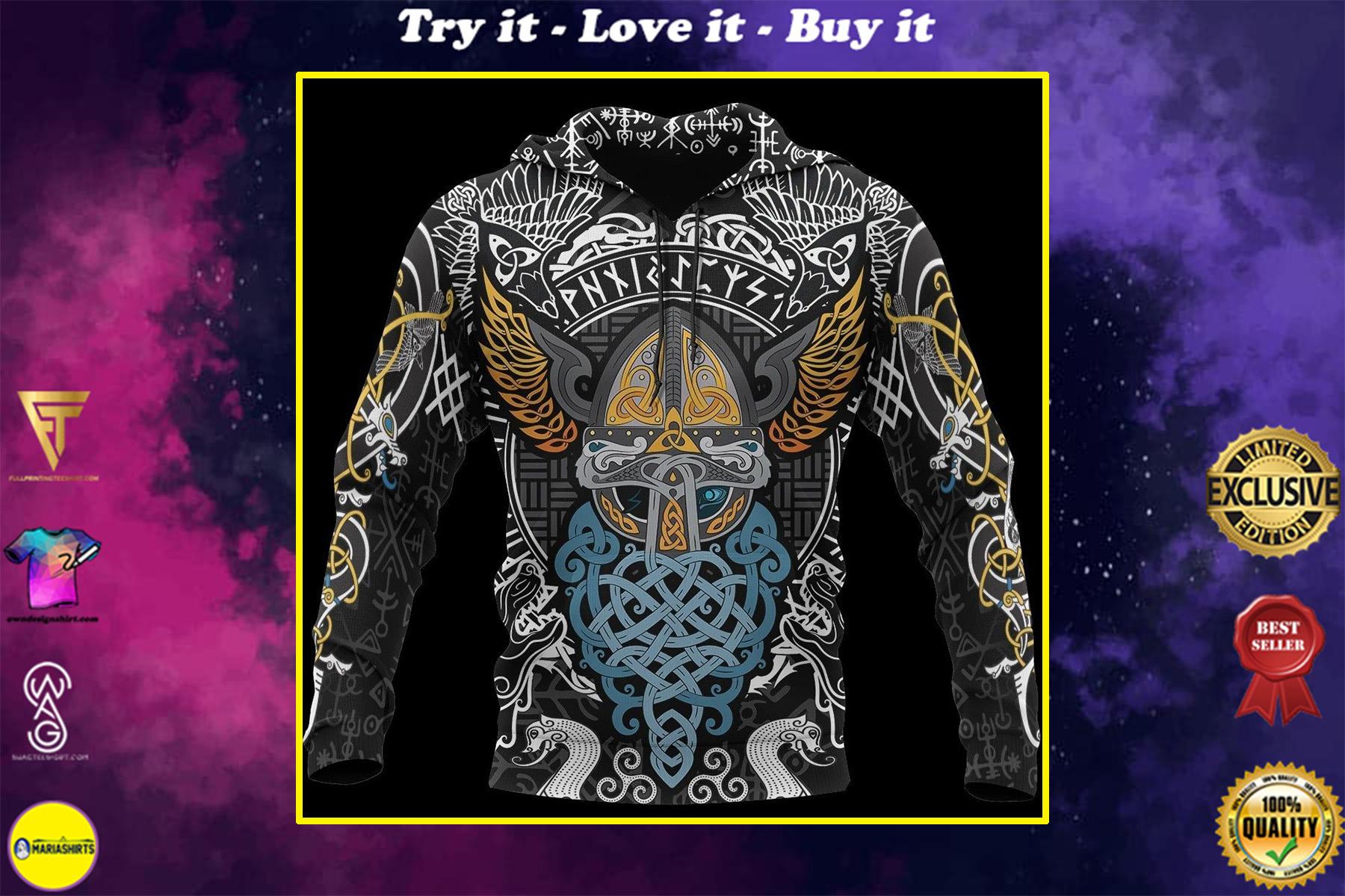 viking odin wotan tattoo all over printed shirt