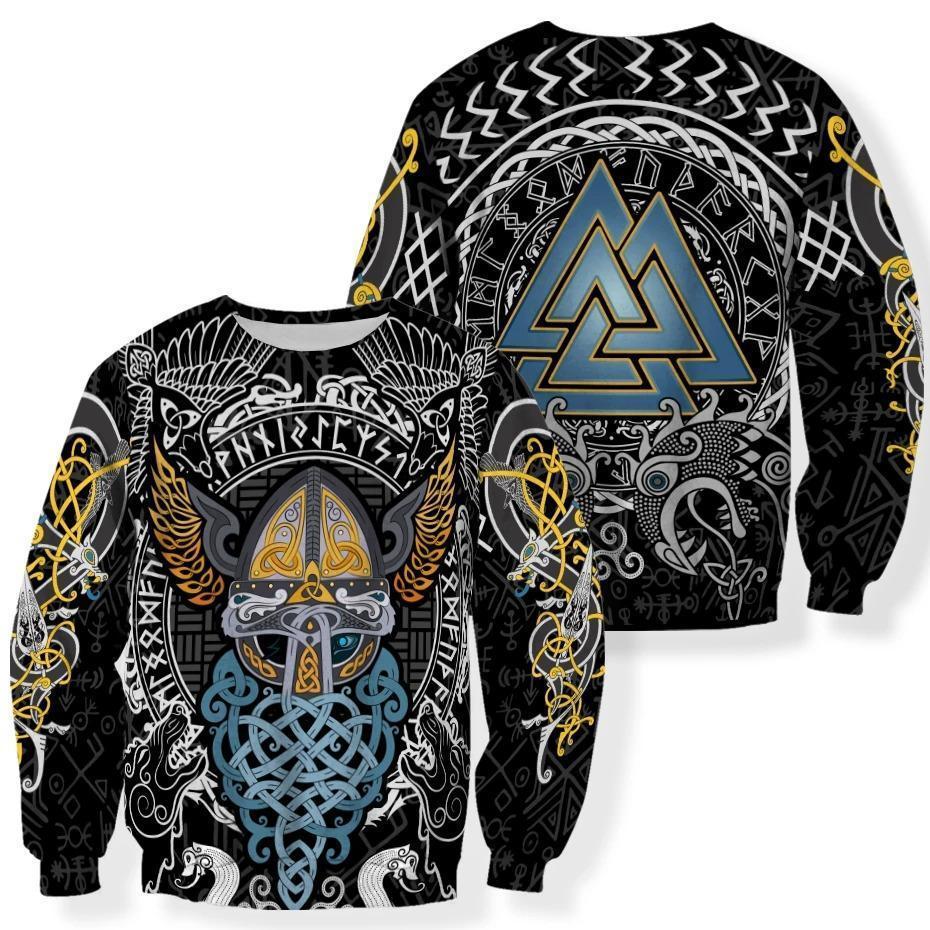 viking odin wotan tattoo all over printed sweatshirt