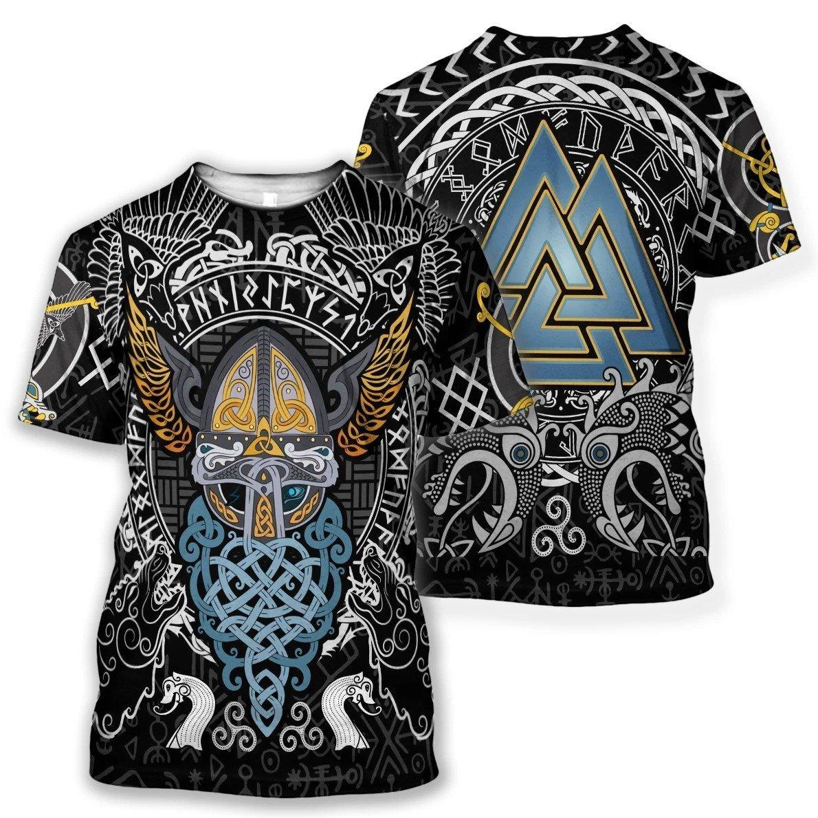 viking odin wotan tattoo all over printed tshirt