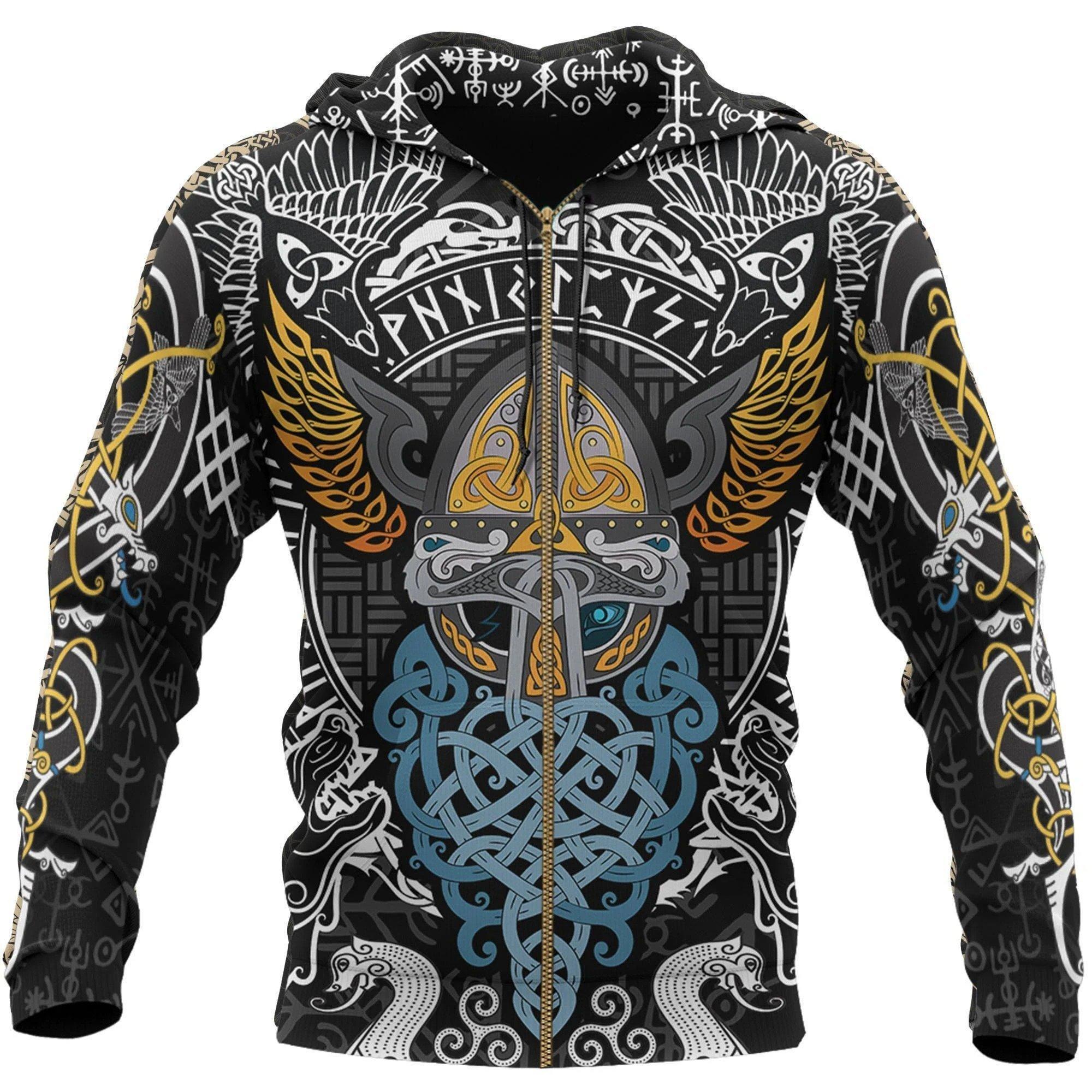 viking odin wotan tattoo all over printed zip hoodie