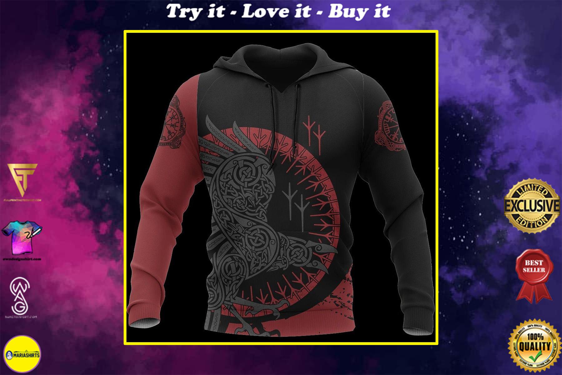 viking raven all over printed shirt